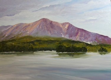 Pink Glow on Katahdin (8 x 10 oil)