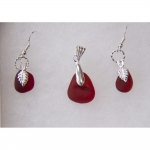 Beach Glass Jewelry Red Set