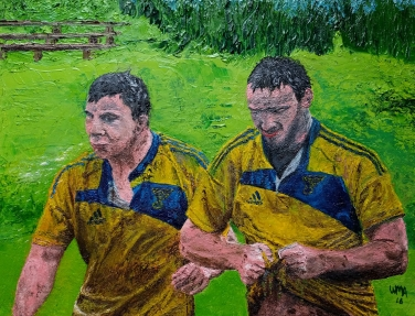 Rugby Warriors 11x14 oil on canvas