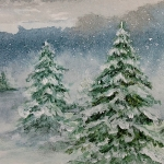 Snow Softly Falling (sold) - 5 x 7 watercolour