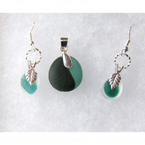 Beach Glass Jewelry Green Set